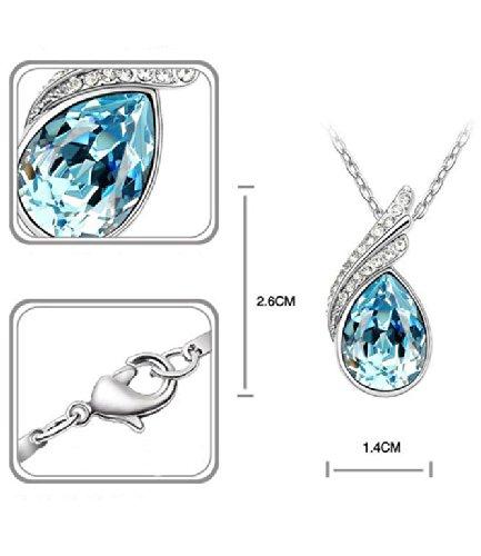Celebrity Jewellery Goutte deau Baisse Forme Verre Cristal boucles doreilles and Collier Parures for Her Femme Bijoux Gift