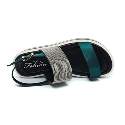 JRenok Féminines Semelles Bout à à Plateforme Romain Sandales Chaussures Vert Ouvert Sandales épaisses à 5rY5q