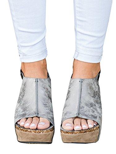Cork Platform Wedges - Syktkmx Womens Slingback Cork Platform Wedges Peep Toe Ankle Wrap Rivet Heeled Sandals
