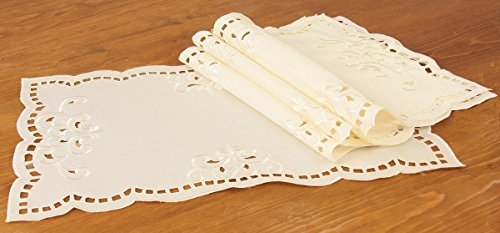 mpton Embroidered Cutwork Placemat, 12 by 18-Inch, Ivory, Set of 4 ()