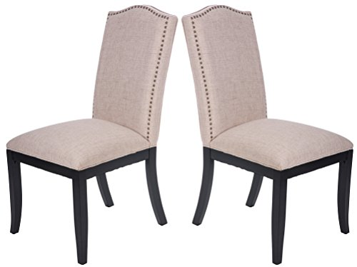 Merax Fabric Dining Chair Dining Room Furniture with Solid Wood Legs and Nailed Trim Set of 2 (Beige_fabric) -