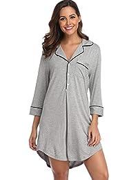 d4095828bb Nightgown Women s Long Sleeve Nightshirt Boyfriend Sleep Shirt Button-up  Lapel Collar Sleepwear