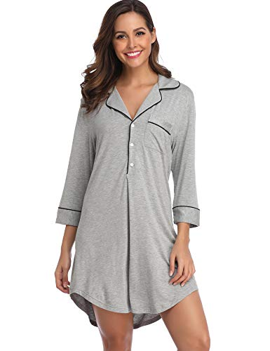 Notch Collar Button - Lusofie Night Shirts for Women Soft Sleepwear Boyfriend Style Nightgowns with Notch Collar and Button (Grey,S)