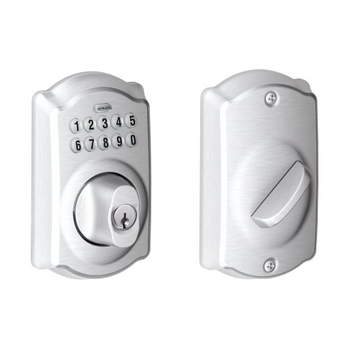 Schlage BE365 CAM 626 Camelot Keypad Deadbolt, Brushed Chrome ()