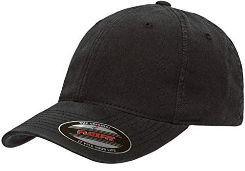 b595fcbf Flexfit Low Profile Garment Washed Cotton Cap (Black, L/XL Fitted (7 1/4