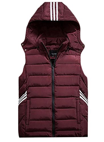 MK988 Outerwear Hooded Mens Sports Sleeveless Vest Wine Quilted Red 4Pw4rqUx6Y