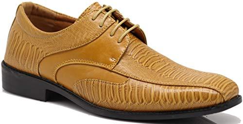 Edmond Men's Fashion Oxfords Lace Up Tuxedo Dress Shoes with Alligator Prints (10.5 D(M) US, Light Brown) ()