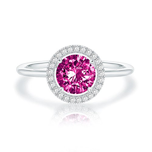 (Swarovski Crystal 14K White Gold Plated Birthstone Rings | White Gold Rings for Women | Amethyst Ring)