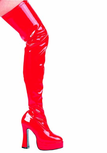 Satin High Heel Adult Boots - Thrill Thigh High Boots Adult Shoes Red - Size 9