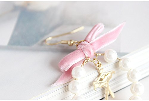 Dwcly Romantic Pink Cloth White Pearl Beaded Circle Tiny Lucky Star Earring Stylish Women Girls Earring