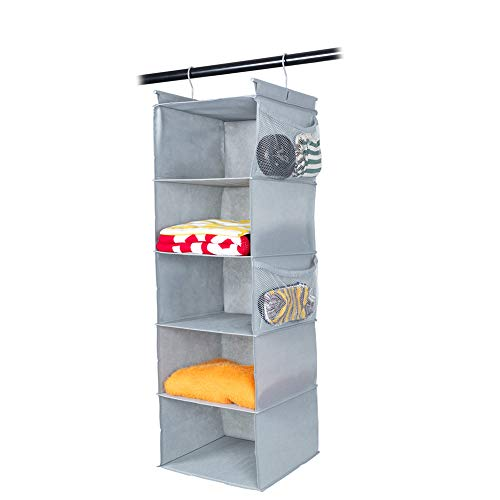 MAX Houser 5-Shelf Hanging Closet Organizer, Space Saver, Cloth Hanging Shelves with 4 Side Pockets, Foldable, Light Grey