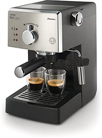 Saeco HD8325/01 - Cafetera Saeco Poemia espresso manual negra y cromada,950W,con Café molido y Easy Serving Espresso (E.S.E.),Bomba de 15 bares, filtro a presión para crema, soporte para taza: Amazon.es: Hogar