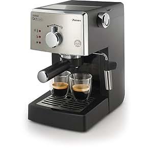 Saeco HD8325/01 - Cafetera Saeco Poemia espresso manual negra y cromada,950W,con Café molido y Easy Serving Espresso (E.S.E.),Bomba de 15 bares, filtro a presión para crema, soporte para taza
