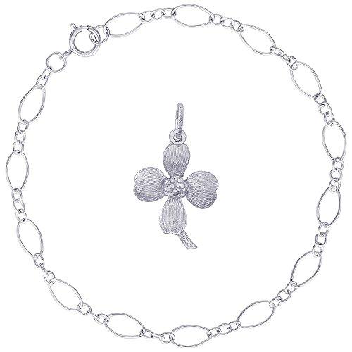 Rembrandt Charms Sterling Silver Dogwood Flower Blossom Charm on a Figaro Link Bracelet, 8