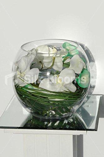 Rosa y verde marfiles y Calla Lily y jarrón y pecera de orquídea Artificial