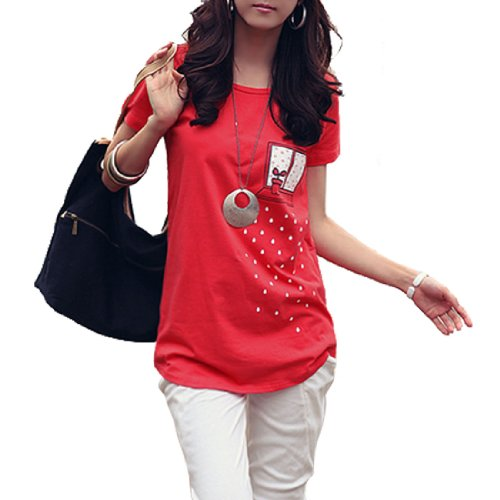 Allegra K Dame Pantalon Manche Nouveauté Imprime Hot Summer T-shirt