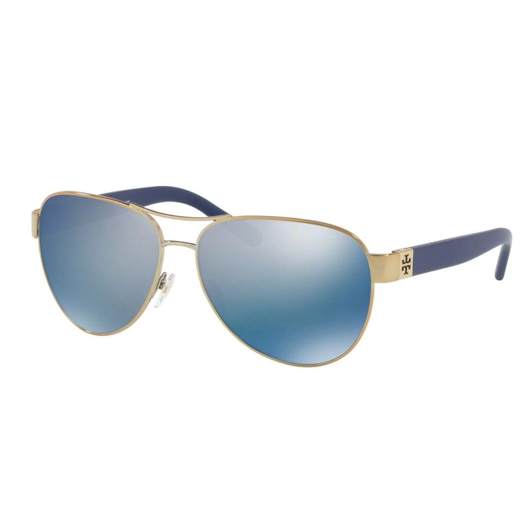 2d38119d9d5f Amazon.com: Tory Burch Women's 0TY6051 Gold/Blue Flash Polarized Mirror One  Size: Clothing
