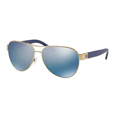 119351c071945 Amazon.com  Tory Burch Women s 0TY6051 Gold Blue Flash Polarized Mirror One  Size  Clothing