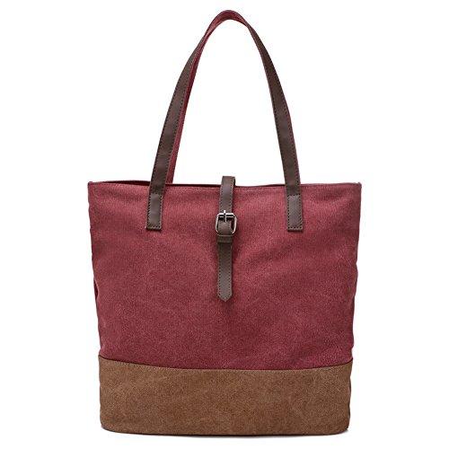 Moonsister Damen Mädchen Leder Gurt Canvas Umhängetasche Schultertasche Tasche, Große Kapazität Handtasche Reisetasche Käufer Reise Strand Tasche, Rot Rot