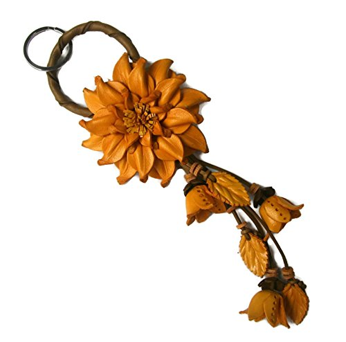 Bella Pazzo Yellow Handmade Dahlia Flower Leather Keychain Key Ring Clasp Bag Charm Handbag Purse charm Car Key Pendant