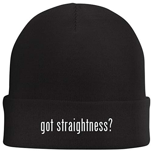 Tracy Gifts got Straightness? - Beanie Skull Cap with Fleece Liner, Black (Smartphones Contract Samsung No)