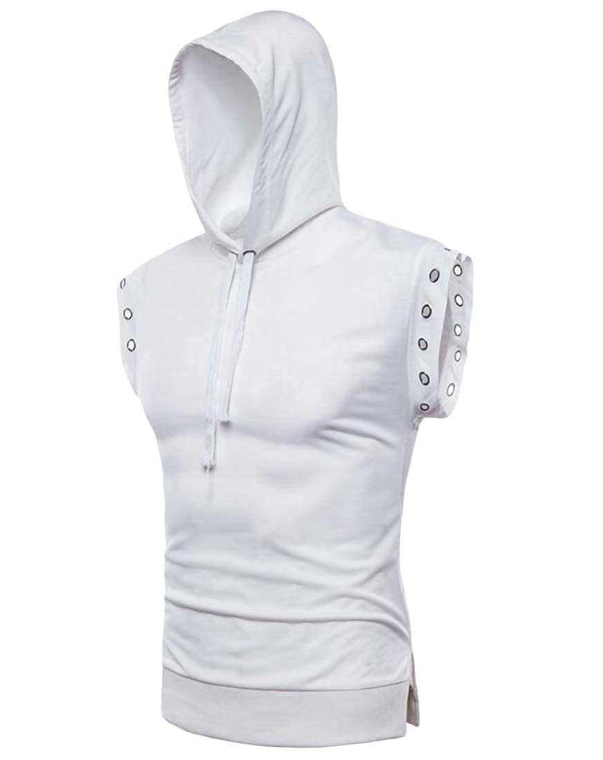 Cromoncent Mens Casual Sleeveless Hooded Sport Outdoor T Shirt Tank Tops