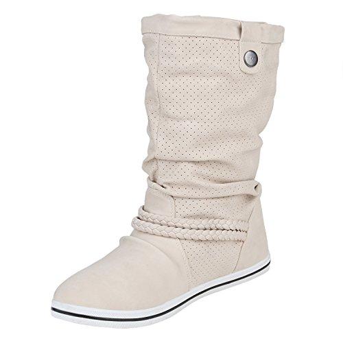 Bequeme Damen Stiefel Schlupfstiefel Lochungen Flache Boots Leder-Optik Metallic Schuhe Flandell Creme Cut-outs