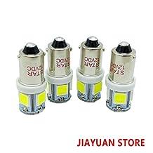 4 Pack 12V Super White BA9S 5050 5SMD 1895 T4W 1445 6253 LED Light Bulbs for Car RV Side Wedge Lamp