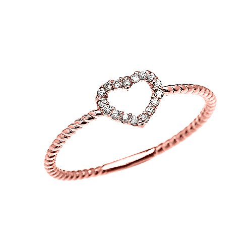Bague Femme 10 Ct Or Rose Cœur Diamant Conception De Corde