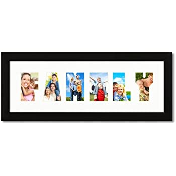 this item 6x18 black 1 wide picture frame with family collage mat