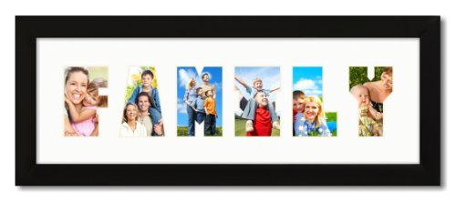 amazoncom 6x18 black 1 wide picture frame with family collage mat photo frame collage