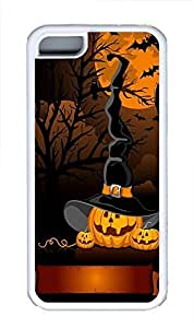 iPhone 5C Case Halloween Pumpkins Witch Hat348 pc hard iPhone 5C Case Cover White