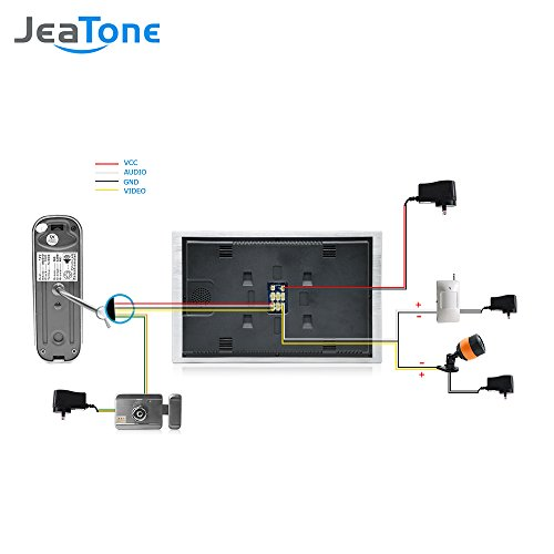 JeaTone 10 Inch TFT Wired Video Door Phone Intercom Security Camera Doorbell Home Security Camera System 32GB SD Card Video Record Monitor Door Video Camera Best Selling by Jeatone (Image #6)