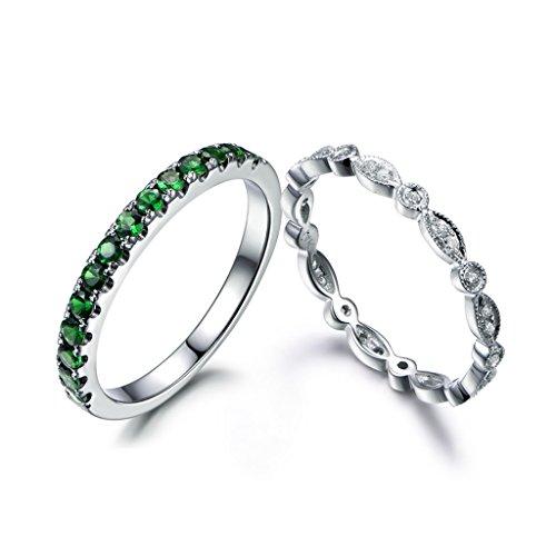 MYRAYGEM-wedding band 14k White Gold 2mm Round Green Tsavorite Half Eternity Ring Diamond Marquise Milgrain Bridal Band Set