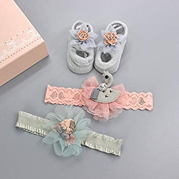 YSpoe Baby Hairband Socks Set 2Pcs Lace Net Floral Headband 1 pair Soft Knit Shoe Suit Cute Sweet Gift Pack For Infant Girls