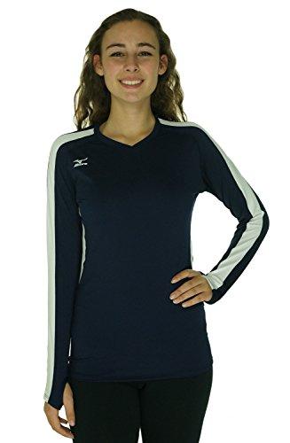 Mizuno Women's Techno Volley IV Long Sleeve Jersey, Navy/White, X-Large Mizuno Stretch Jersey