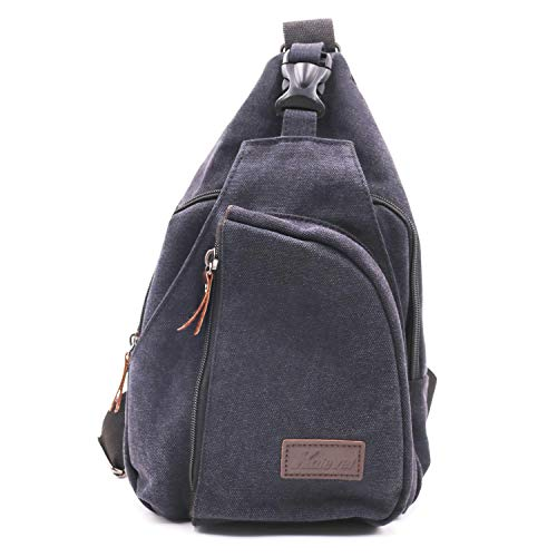 (Kalvel Cool Casual Shoulder Chest Bag Canvas Outdoor Sling Backpack Crossbody Bags Multipurpose Shoulder Backpack Chest Sling Crossbody Bag for Men Women Hiking, Camping, Cycling (Black,S))