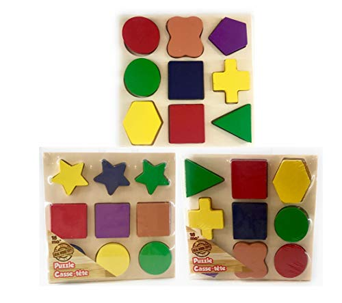 Wooden Shape Puzzles Geometric Sorting & Wooden Preschool Geometric Sorting & Fun Shapes Games Early Development Educational Toys with Vibrant Colors for Toddlers Boys & Girls (Best Generic Toddlers Toys)
