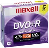 MAXELL DVD+R 4.7GB DVD Recordable Disc ( 5-Pack )