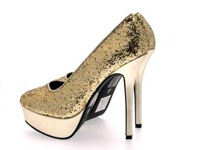 Ladies Glitter Platform Party Shoes High Heel Court Metallic Dress Shoes Size Gold Glitter PWGEWdp