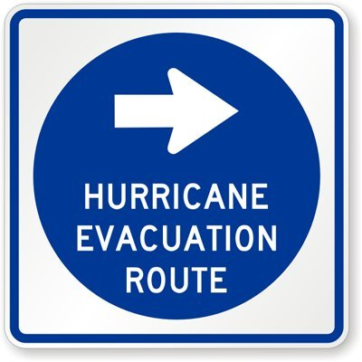 Hurricane Evacuation Route (Right Arrow), Engineer Grade Reflective Aluminum Sign, 80 mil, 18