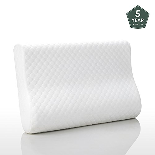 Memory Foam Pillows for Sleeping Contour Neck Support Cooling Gel Hypoallergenic Dust Mite Resistant Orthopedic Ergonomic Pillow Design in USA by MEWE (Standard)