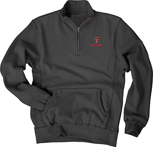 NCAA Texas Tech Red Raiders Men's Sanded Fleece Zip Cadet Sweatshirt, Black, X-Large