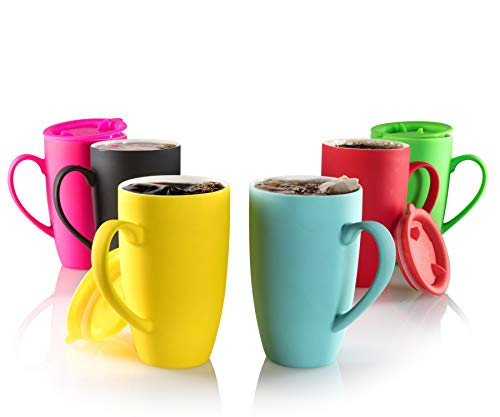 Plain Coffee Mugs (MITBAK 6-Pack Ceramic Coffee Mug Set with Lids (14-Ounce) | Colorful Tumbler Mugs Great for Taking Your Coffee & Tea To-Go | Large Insulated Mug Set Excellent Choice for Camping,)
