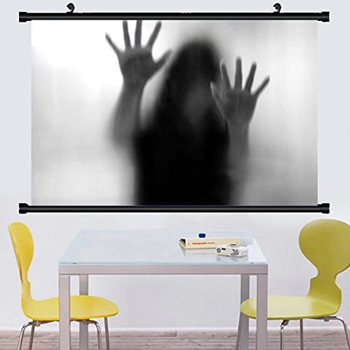 Gzhihine Wall Scroll Horror House Decor Silhouette of Woman behind the Veil Scared to Death Obscured Paranormal Photo Wall Hanging Gray 35''x24'' by Gzhihine