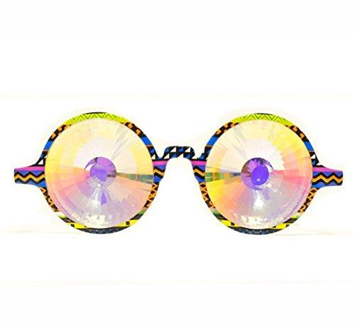 GloFX Tribal Kaleidoscope Glasses- Rainbow Wormhole DJ Dancers