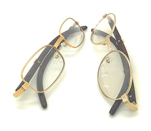 Clear Lens Eyeglasses Unisex Vintage Fashion Oval Frame Glasses Yellow Gold UV400 Protection (2 Pack Oval&Small Rectangular, - Mens Eyeglass Frames Oval