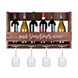 Cheap DP2G Wall Mount Wooden Wine Rack – 6-Bottle, 4-Glass Display – Hanging Hardware Included