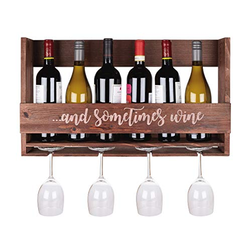 (DP2G Wall Mount Wooden Wine Rack - 6-Bottle, 4-Glass Display - Hanging Hardware Included)