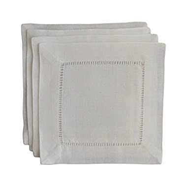 Fino LIno Handmade Hemstitch Cocktail Napkins,  6  L x 6  W, Set of 4